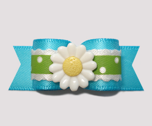 "#2666 - 5/8"" Dog Bow- Electric Blue, Summer Green Ruffle, Daisy"