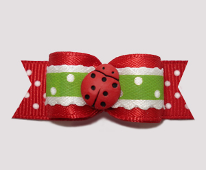 "#2667 - 5/8"" Dog Bow - Country Cottage Ladybug, Red/Green"