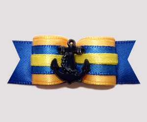"#2668 - 5/8"" Dog Bow - Ahoy! Nautical Yellow with Blue Anchor"