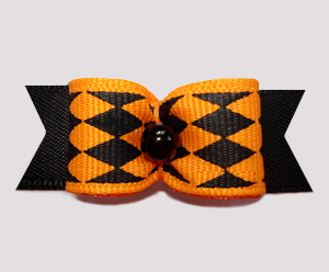 "#2669 - 5/8"" Dog Bow - Halloween Jester, Orange/Black Diamonds"