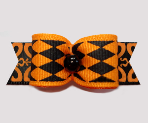 "#2670 - 5/8"" Dog Bow - Fancy Jester Diamonds, Orange/Black"