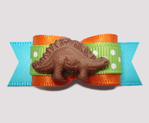 "#2672 - 5/8"" Dog Bow - So Cute! Say Hello to Dino the Dinosaur"