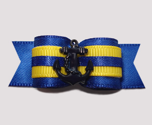 "#2675 - 5/8"" Dog Bow - Join the Navy! Blue/Yellow w/Navy Anchor"