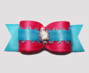 "#2676 - 5/8"" Dog Bow - Bold & Beautiful! Hot Pink/Electric Blue"