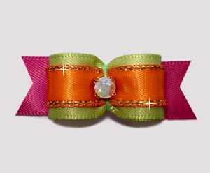 "#2677- 5/8"" Dog Bow- Autumn Sage/Orange/Cranberry, AB Rhinestone"
