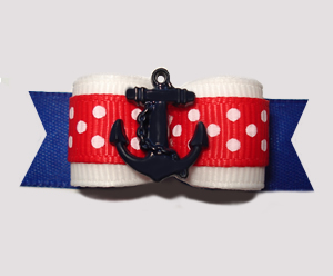 "#2678- 5/8"" Dog Bow- Classic Sailor Red/White/Blue w/Navy Anchor"