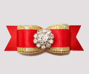 "#2679- 5/8"" Dog Bow- Stunning Classic Red/Gold, Rhinestone Bling"