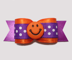 "#2681 - 5/8"" Dog Bow - Cute Dots, Orange/Purple, Orange Smiley"