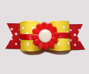 "#2683 - 5/8"" Dog Bow - Sunny Days, Daffodil Yellow/Red Flower"