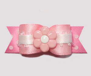 "#2685 - 5/8"" Dog Bow - Little Sugar, Pink/White Dots, Pink Daisy"