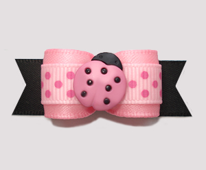 "#2687 - 5/8"" Dog Bow - Sweet Li'l Ladybug Dots, Pink/Black"