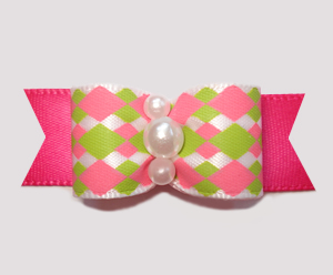 "#2695 - 5/8"" Dog Bow - Fresh and Fun, Pink/Green Diamonds"