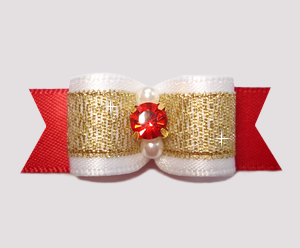 "#2696 - 5/8"" Dog Bow - Classic Beauty, Red/Gold, Ruby Rhinestone"
