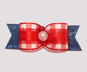 "#2698 - 5/8"" Dog Bow - Country Red/White Plaid 'n Denim"