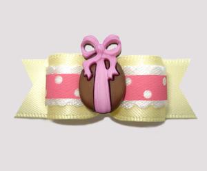 "#2701 - 5/8"" Dog Bow - Easter Egg Ruffle, Pink/Soft Yellow"