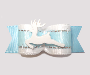 "#2709 - 5/8"" Dog Bow - Elegant Reindeer, Powder Blue/White"