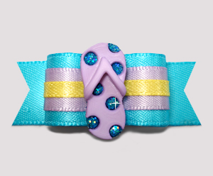 "#2713- 5/8"" Dog Bow- Flip Flop Bling, Electric Blue/Sunny Yellow"