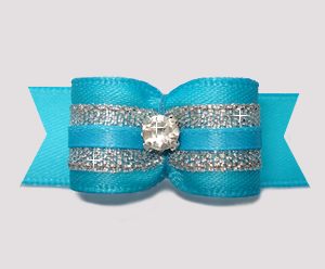 "#2716 - 5/8"" Dog Bow - Gorgeous Electric Blue/Silver, Rhinestone"