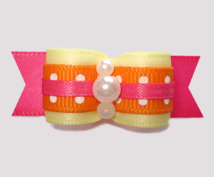 "#2717- 5/8"" Dog Bow- Summer Fun, Yellow/Hot Pink/Orange, Dots"