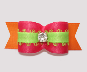 "#2719 - 5/8"" Dog Bow - Beautiful Brights, Hot Pink/Orange w/Lime"
