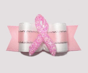 "#2722 - 5/8"" Dog Bow - Angelic White/Pink with Pink Ribbon"