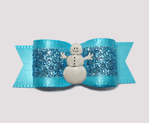 "#2727 - 5/8"" Dog Bow - Gorgeous Glitter, Electric Blue, Snowman"