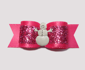 "#2728 - 5/8"" Dog Bow - Gorgeous Glitter, Hot Pink, Snowman"