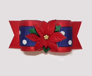 "#2732- 5/8"" Dog Bow- Holiday Red/Blue/White Sprinkle, Poinsettia"