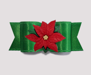 "#2733 - 5/8"" Dog Bow - Rich Holiday Green Satin, Red Poinsettia"