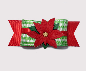 "#2735 - 5/8"" Dog Bow - Green Gingham 'n Red, Holiday Poinsettia"