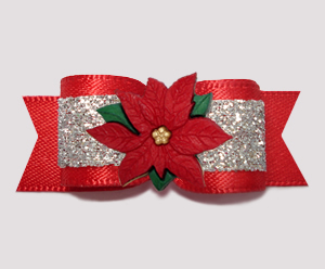 "#2745 - 5/8"" Dog Bow - Showy Red and Silver Glitter, Poinsettia"