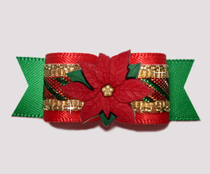 #2747- 5/8 Dog Bow- Candy Cane Sparkle, Red/Gold/Grn, Poinsettia