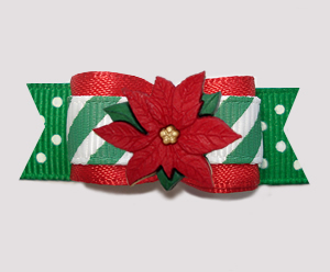 "#2749 - 5/8"" Dog Bow- Candy Cane Stripes 'n Dots, Poinsettia"