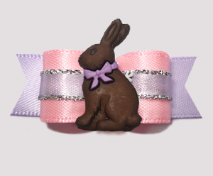 "#2760 - 5/8"" Dog Bow - Pretty as a Princess, Chocolate Bunny"