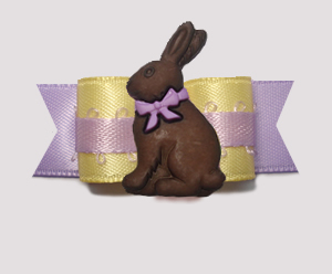 "#2766 - 5/8"" Dog Bow - Sweet Baby Yellow/Lavender, Easter Rabbit"