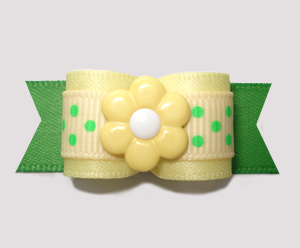 "#2770 - 5/8"" Dog Bow - Yellow/Summer Green Dots, Yellow Daisy"