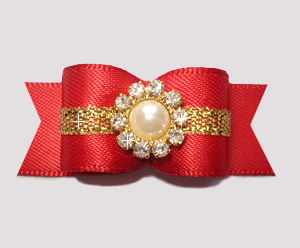 "#2774 - 5/8"" Dog Bow - Gorgeous, Classic Red/Gold Elegance"