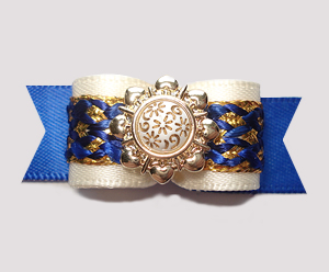 "#2775 - 5/8"" Dog Bow - Royal Blue/Cream/Gold, Victorian Accent"
