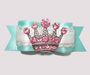 "#2791- 5/8"" Dog Bow - Gorgeous Turquoise Satin, Pink Bling Crown"