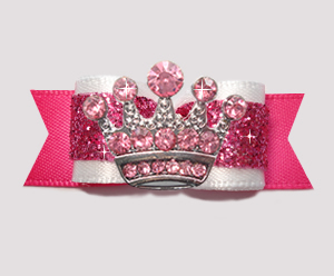 "#2794 - 5/8"" Dog Bow - Princess Diva, Pink Glitter, Pink Crown"