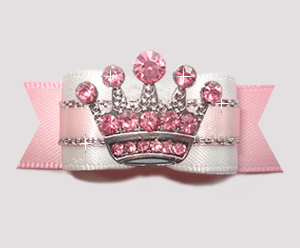 "#2795 - 5/8"" Dog Bow - Princess Worthy! Pink Rhinestone Crown"