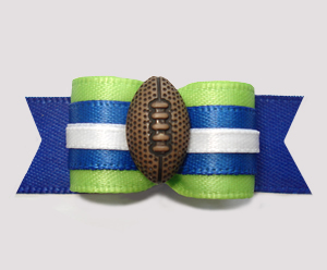 "#2798 - 5/8"" Dog Bow - Football, Green and Blue"