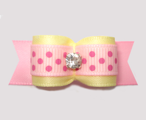 "#2799 - 5/8"" Dog Bow - Baby Sweet, Yellow/Pink Dots, Rhinestone"