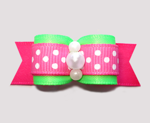 "#2805 - 5/8"" Dog Bow - Pop of Color! Neon Green/Hot Pink, Dots"