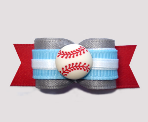 "#2807 - 5/8"" Dog Bow - Baseball, Grey/Blue/Red"