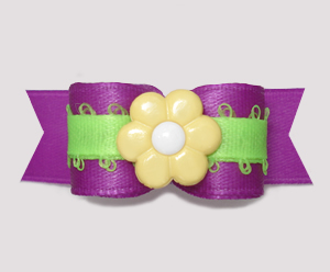 "#2810 - 5/8"" Dog Bow - Orchid Purple/Lime Green, Yellow Flower"