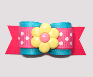 "#2811 - 5/8"" Dog Bow - Electric Blue/Hot Pink, Dots 'n Daisy"