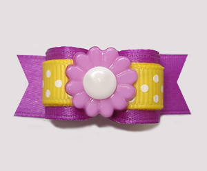 "#2812 - 5/8"" Dog Bow - Purple/Sunny Yellow, Dots 'n Daisy"