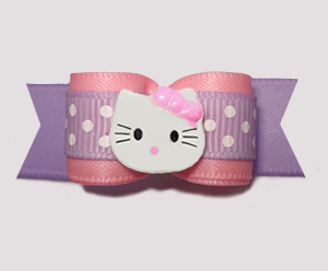 "#2819 - 5/8"" Dog Bow - Sweetheart Dots, Pink/Lavender, Kitty"