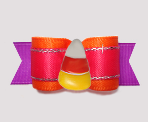 "#2823 - 5/8"" Dog Bow - Beautiful Brights, Candy Corn"